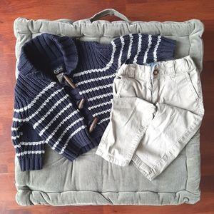 OSHKOSH grandpa sweater & khaki pants 12 months